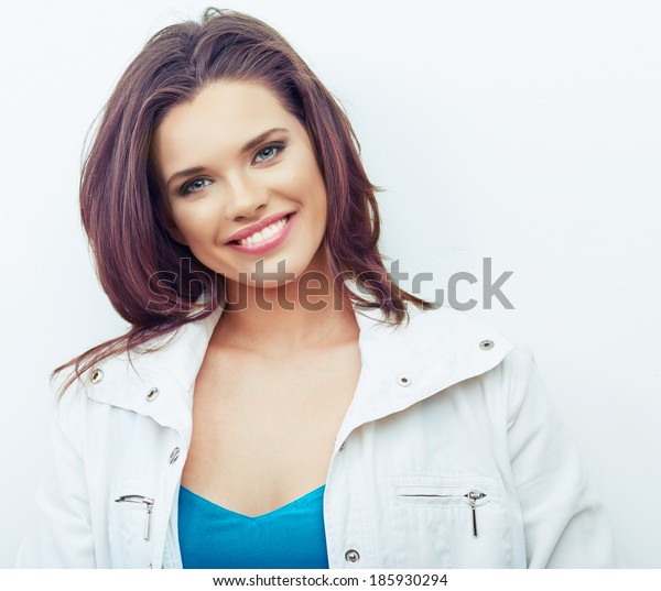 Portrait of Beautiful Woman. White background. Beauty young model.