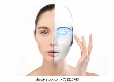 Portrait of a beautiful woman who with her hand crushes and half-face becomes a robot with artificial intelligence. Concept of: future, artificial intelligence, robot.
