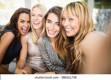 Portrait of beautiful women having fun at party