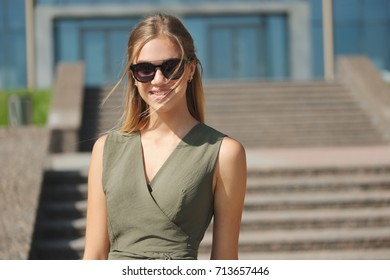 portrait of beautiful yound woman outdoors