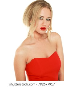Portrait of beautiful young adult attractive sexy and sensuality pretty blonde woman in red elegance fashionable dress isolated on white background