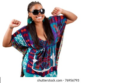 Portrait of beautiful young african american woman dancing against white background