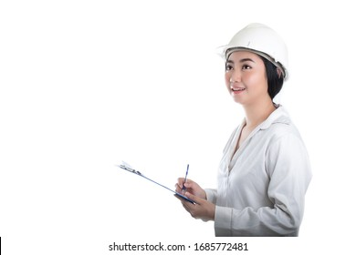 Portrait beautiful young Asia woman civil engineer holding plan drawing  looking forward and thinking of a white background, Planning on construction building concept
