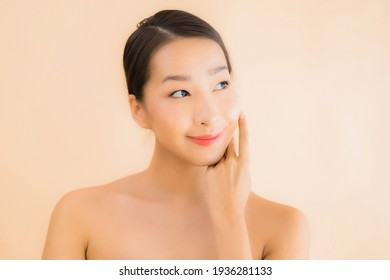Portrait beautiful young asian face woman with beauty spa wellness and cosmetic makeup concept