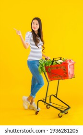 Portrait beautiful young asian woman shopping grocery from supermarket and cart on yellow isolated background