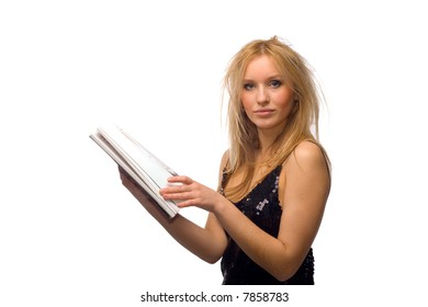 Portrait of a beautiful young blond girl with magazine, isolated on white