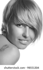portrait of beautiful, young blond for poster