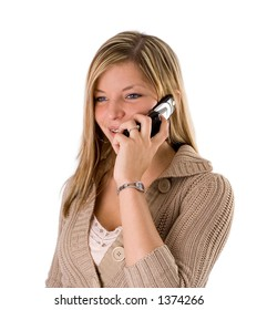 Portrait of a beautiful young blond woman talking on the phone smiling on white background.