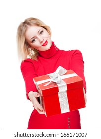 Portrait of a beautiful young blond woman holding shiny red gift box.