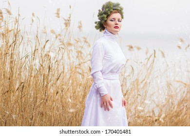 Portrait of a beautiful young blonde girl with pine wreath on his head in a long white dress on nature