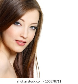 Portrait of  beautiful young brunette woman with red hair - white background