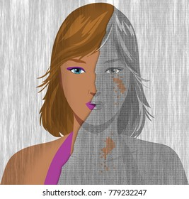 Portrait of beautiful young brunette woman, worrying to become old and ugly. Concept illustration