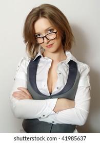 Portrait of beautiful young buisnesswomen wearing glasses