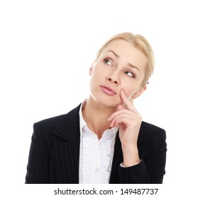 Portrait of a beautiful young business woman thinking against