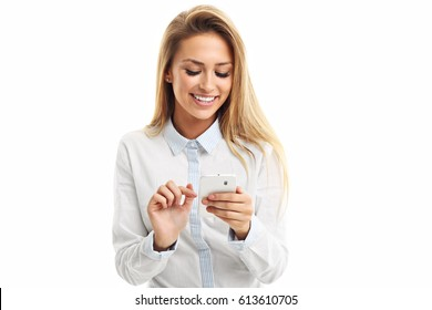 Portrait of Beautiful Young Business woman using mobile phone isolated on white background