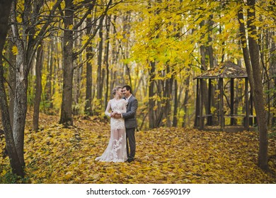 Portrait of beautiful young couple on the background of bright autumn forest.