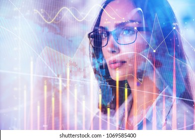 Portrait of beautiful young european businesswoman with forex chart. Investment, fund management and success concept. Double exposure