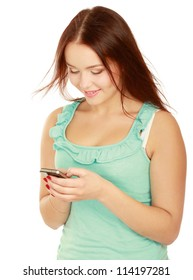 Portrait of beautiful young female using cellphone, isolated on white background