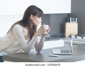 Portrait of a beautiful young female using a laptop at home