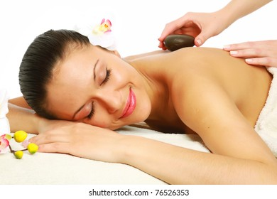 Portrait of a beautiful young girl at the day spa
