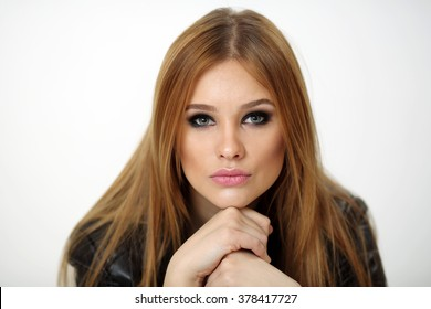 portrait of a beautiful young girl on a white background - Shutterstock ID 378417727