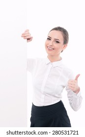 Portrait of a beautiful young lady wearing formal white shirt smiling looking out of the corner copyspace isolated on white background