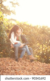 portrait of beautiful young pair in a park. low contrast