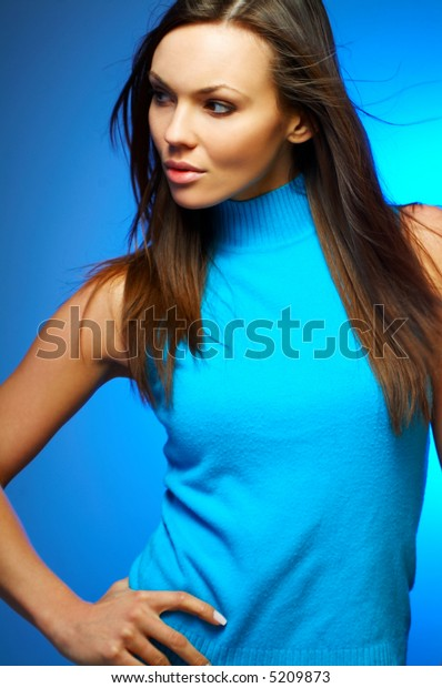 Portrait of beautiful young sexy brunette woman