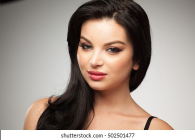 Portrait of Beautiful Young Spanish Girl Natural Model With Black Hair. Horizontal Photo.