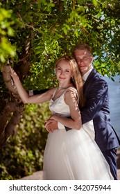 Portrait of beautiful young wedding couple