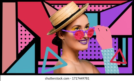 Portrait of a beautiful young woman with bright colorful painted design. Retro and magazine style, modern vision of females beauty and fashion, contemporary artwork. Copyspace. Make up and hairstyle.
