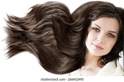 portrait beautiful young woman brunette with healthy long shiny
