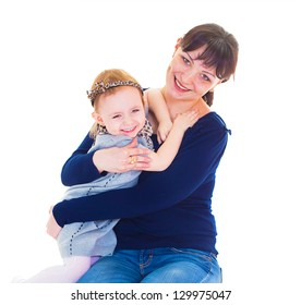 Portrait of a beautiful young woman carrying her daughter against white background