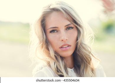 portrait of a beautiful young woman close-up