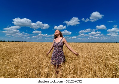 Portrait of beautiful young woman in dress walking in golden wheat field with cloudy blue sky background, free space. Liberty, peace of mind concept. Girl in spikes of wheat field under blue sky
