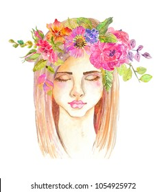 Portrait of beautiful young woman with beautiful face and flower wreath. Boho Stylish watercolor art. Hand drawn illustration