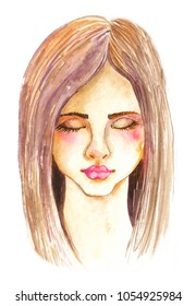 Portrait of beautiful young woman with beautiful face, Stylish watercolor art. Hand drawn illustration