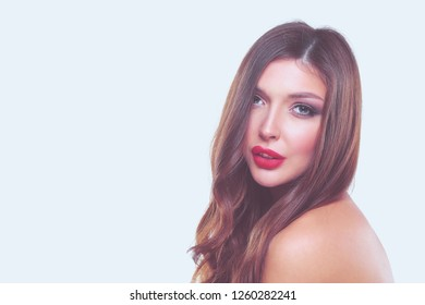 Portrait of beautiful young woman . Isolated on white background. Beautiful woman