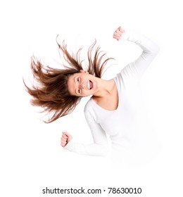 A portrait of a beautiful young woman with long hair acting crazy over white background