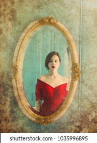 portrait of beautiful young woman looking at herself in the wonderful mirror. Photo in old color image style.