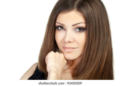 Portrait of beautiful young woman with perfect skin in studio isolated