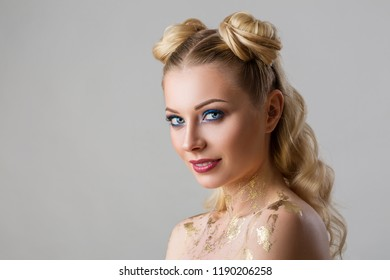 portrait of a beautiful young woman with professional make-up beauty and fashion, cosmetology and Spa.