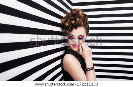 0828da0f59e Portrait of beautiful young woman with professional party make up false  eyelashes