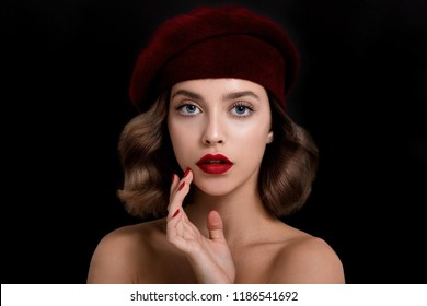 56539eb9daf98 Portrait of beautiful young woman wearing red clothes and beret with  perfect young skin
