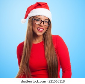 portrait of a beautiful young woman wearing glasses at Christmas