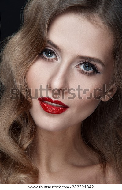 Portrait Beautiful Young Women Red Lips Stock Photo Edit Now 282321842