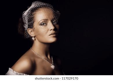 Portrait of beautiful young women in veils closeup