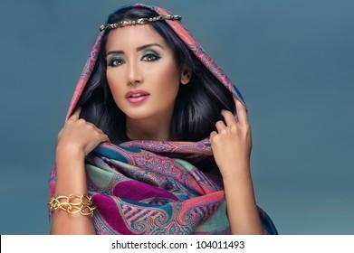 Portrait of a beauty arabian lady in a sensual beauty portrait