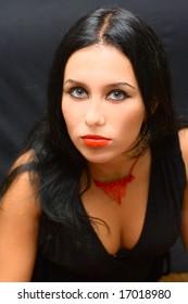 Portrait beauty Girl on black background