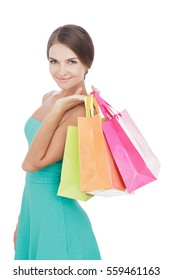 portrait of Beauty woman smiling while carrying shopping bags isolated on white background